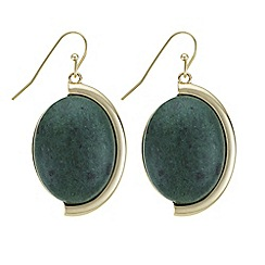 The Collection - Green stone drop earrings
