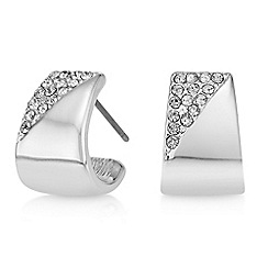 The Collection - Silver pave half hoop earrings