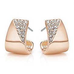 The Collection - Rose gold pave half hoop earrings