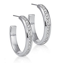 The Collection - Silver pave hoop earrings