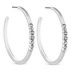 The Collection - Silver crystal hoop earrings