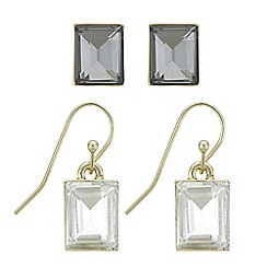 The Collection - Square crystal earrings set
