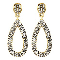 The Collection - Gold pave peardrop earrings