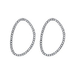 The Collection - Silver pave open oval earrings