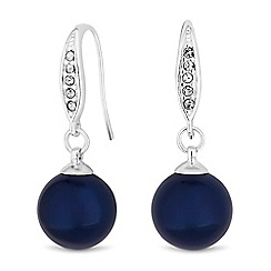 The Collection - Navy pearl drop earrings
