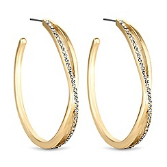 The Collection - Gold crystal twist hoop earrings