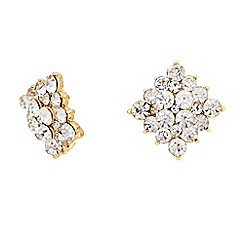 The Collection - Square crystal stud earrings