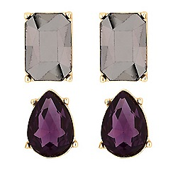 The Collection - Faceted crystal stud earrings set