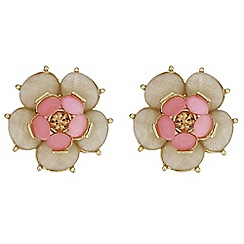The Collection - Pink crystal flower earrings
