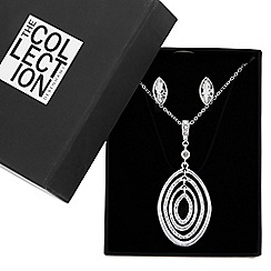 The Collection - Silver pave peardrops necklace and matching earring set