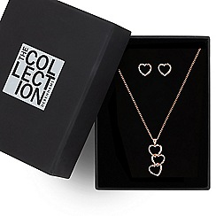 The Collection - Rose gold pave heart jewellery set
