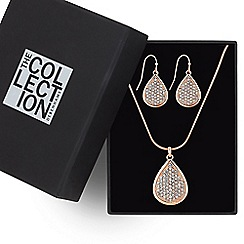 The Collection - Rose gold pave peardrop jewellery set
