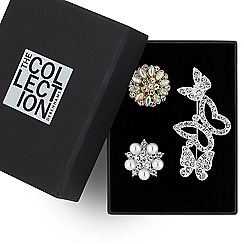The Collection - Crystal butterfly brooch gift set