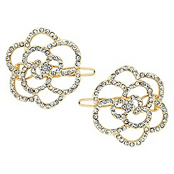The Collection - Set of two rose flower crystal hair slides