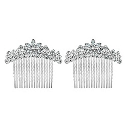 The Collection - Set of two floral crystal hair combs