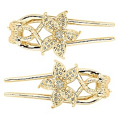 The Collection - Set of two twisted flower gold hair grips
