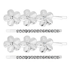 The Collection - Set of four metal flower hair slides
