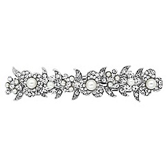 The Collection - Pearl and crystal flower hair barrette