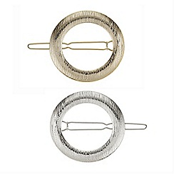 The Collection - Set of two textured circle hair clips