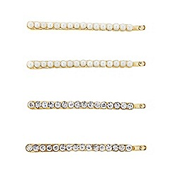 The Collection - Pack of four crystal and pearl hair slides