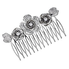 The Collection - Silver crystal floral hair comb