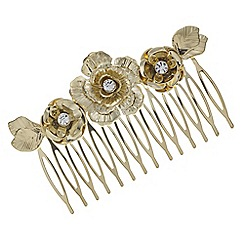 The Collection - Gold crystal floral hair comb