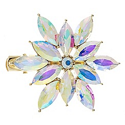 The Collection - Gold aurora borealis crystal flower hair clip