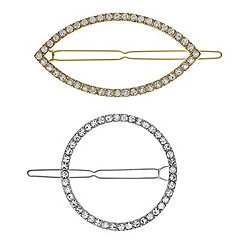 The Collection - Multi tone open shape pave hair clip set