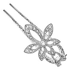 The Collection - Silver crystal floral hair fork