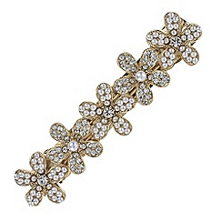 The Collection - Gold crystal and pearl floral hair clip