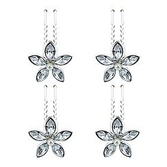 The Collection - Silver floral crystal hair pin set