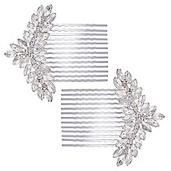 The Collection - Silver crystal ornate hair comb set