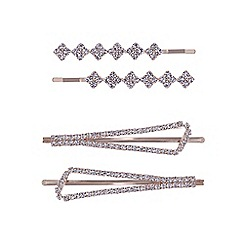 The Collection - Gold crystal multi shape hair slide set