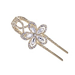 The Collection - Gold crystal flower large hair clip