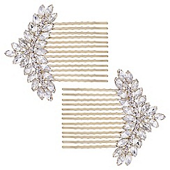 The Collection - Gold crystal ornate hair comb set