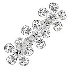 The Collection - Silver crystal floral hair clip