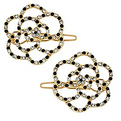 The Collection - Gold crystal flower hair slide set