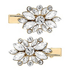 The Collection - Gold floral crystal hair clip set