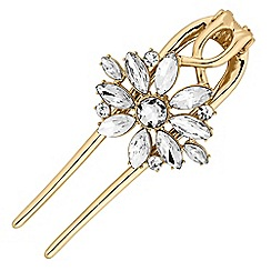 The Collection - Gold crystal floral large hair clip