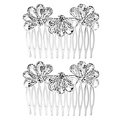 The Collection - Silver crystal fan hair comb set