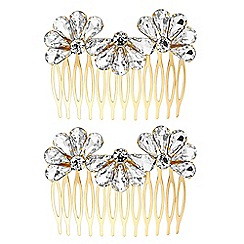 The Collection - Gold crystal fan hair comb set