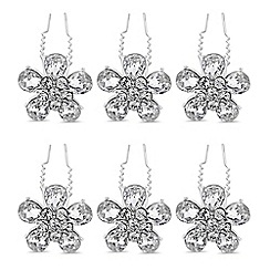 The Collection - Silver crystal flower hair pin set
