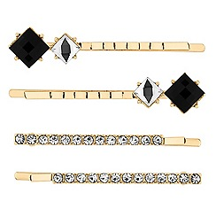 The Collection - Jet crystal hair slide set