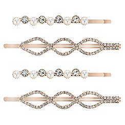 The Collection - Pearl and crystal hair slide set
