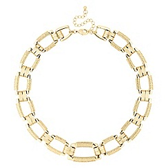 The Collection - Textured gold square link necklace
