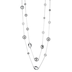 The Collection - Long grey pearl and glass bead necklace