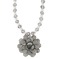 The Collection - Statement grey shell flower necklace
