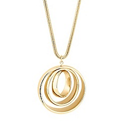 The Collection - Long circular triple gold drop necklace