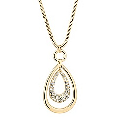 The Collection - Polished and crystal encased gold peardrop necklace
