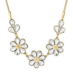 The Collection - Gold crystal triple flower necklace